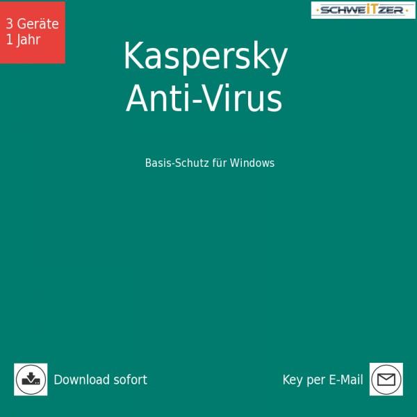 Kaspersky Anti-Virus 2019 *3-Geräte / 1-Jahr* , Download