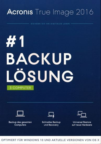 Acronis True Image 2016, 3 User -UPGRADE AUF 2017 möglich, PC/Mac, KEY, Download