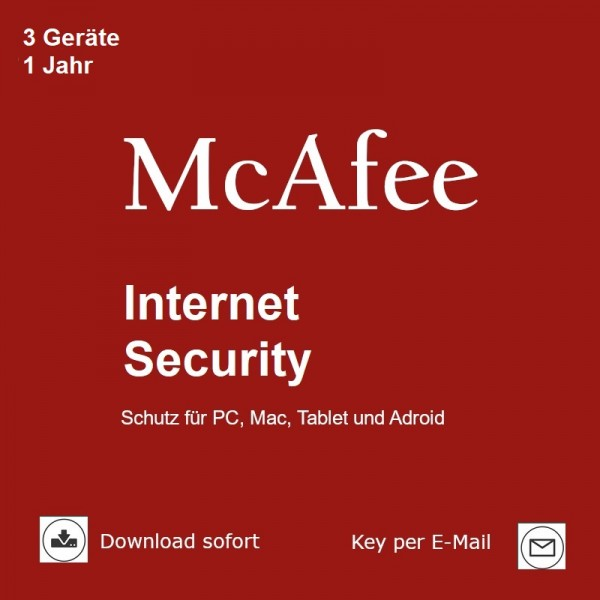 McAfee Internet Security, 3 Geräte, 1 Jahr, 2017, Download