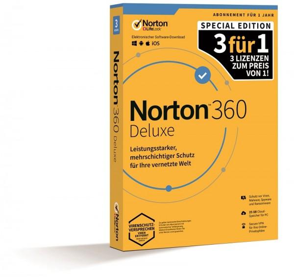 NORTON 360 DELUXE, 2020 3für1 3 Geräte / 1 Jahr inkl. 25GB KEIN ABO, BOX