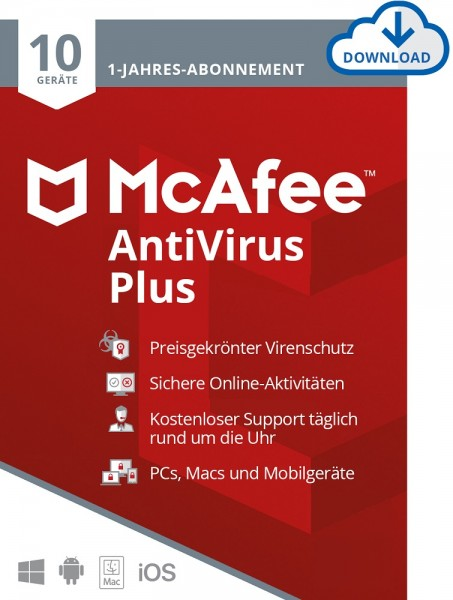McAfee AntiVirus Plus 10 Geräte 1 Jahr, Download