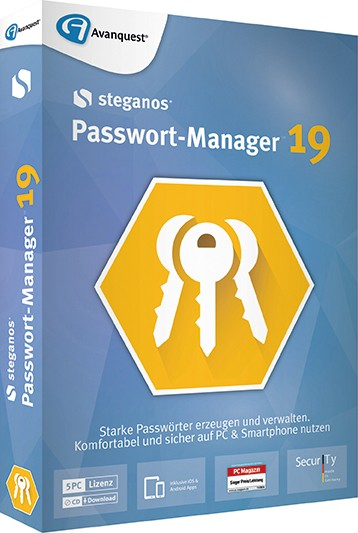 Steganos Passwort-Manager 19, PC/iOS/Android, 5 Geräte, Box mit CD