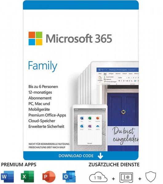 Microsoft Office 365 Family, 6 Personen, 1 Jahr, je 5 Geräte (Win, Mac, Android, iOS)Download