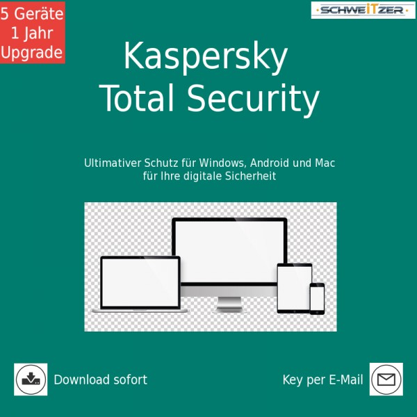 Kaspersky TOTAL SECURITY 2019 *5-Geräte / 1-Jahr* Upgrade, Download