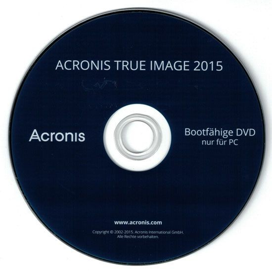 Acronis True Image 2015, Bootfähige DVD (ohne KEY)