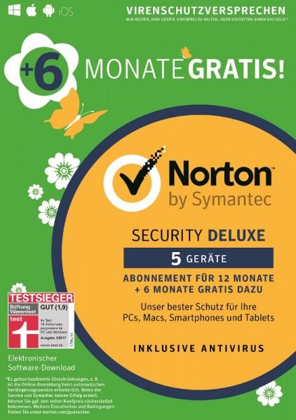 NORTON SECURITY Deluxe 3.0, 18-Monate-Edition, 5 Geräte, Download