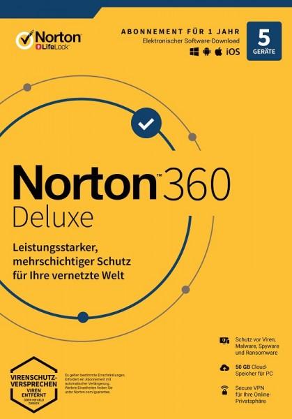 NORTON 360 DELUXE 2020 5 Geräte / 1 Jahr inkl. 50GB, KEIN ABO, Download