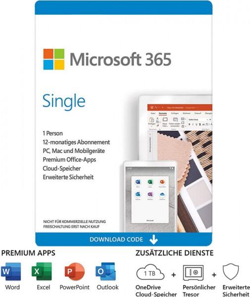 Microsoft Office 365 Single, 1 Nutzer, 1 Jahr, 5 Geräte (Win, Mac, Android, iOS)Download