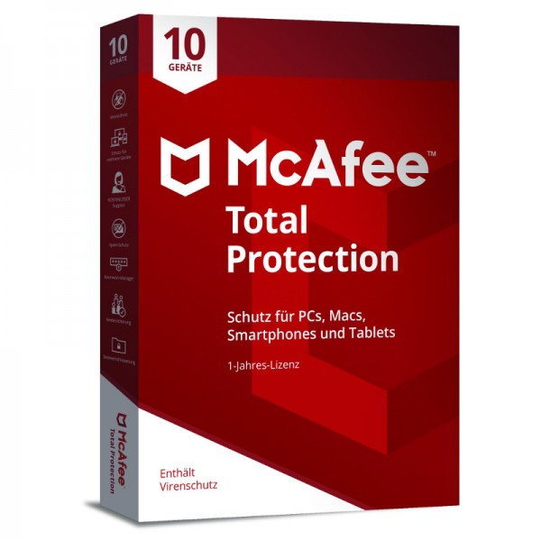 McAfee Total Protection (2018) 10 Geräte 1 Jahr BOX (Code Only)