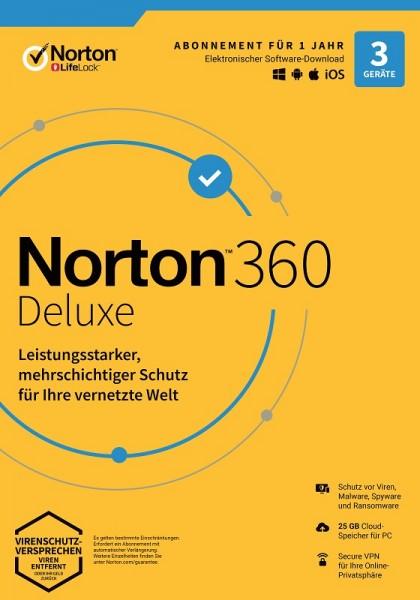 NORTON 360 DELUXE 2020 3 Geräte / 1 Jahr inkl. 25GB, KEIN ABO, Download