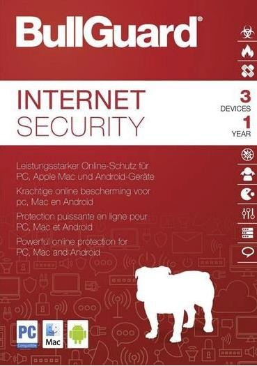 BullGuard Internet Security 2018, 3 Geräte, PC/Mac/Android,1 Jahr, Download