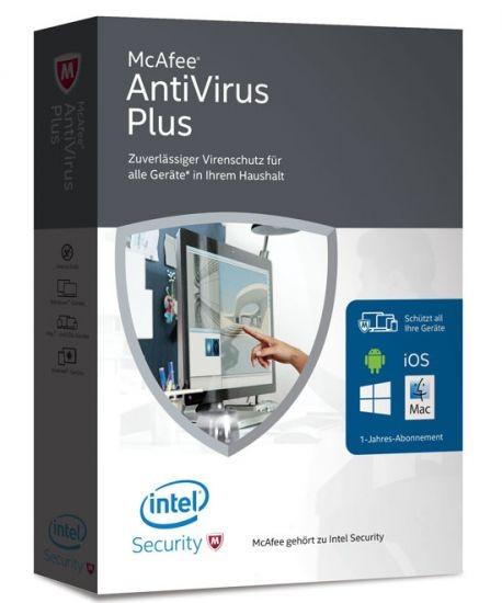 McAfee AntiVirus Plus Unlimited, bis zu 50 Geräte, Box