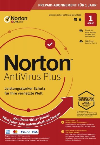 NORTON ANTIVIRUS PLUS, kontinuierlicher Schutz, 1-Gerät / 1-Jahr, KEY