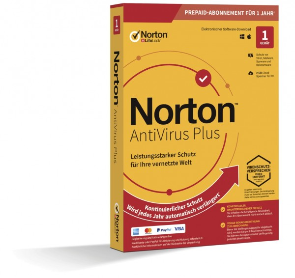 NORTON ANTIVIRUS PLUS *1-Gerät / 1-Jahr* ABO inkl. 2GB PC/Mac, BOX