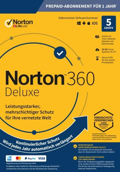 NORTON 360 Deluxe, kontinuierlicher Schutz, 5-Geräte / 1-Jahr inkl.50GB, KEY