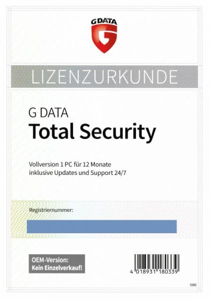 G Data Total Security, 1 PC, 1 Jahr, PKC (Karte mit KEY) OEM