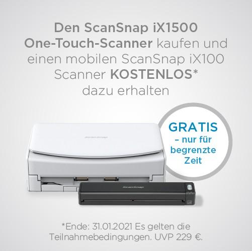 Aktion: Fujitsu ScanSnap iX1500 Dokumentenscanner + iX100 Gratis (Versand von Fujitsu 1 pro Kunde)