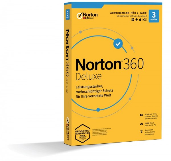 NORTON 360 DELUXE, 2020 3 Geräte / 1 Jahr inkl. 25GB KEIN ABO, BOX