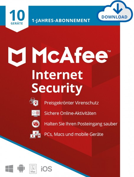 McAfee Internet Security, 10 Geräte, 1 Jahr, Download (2021)