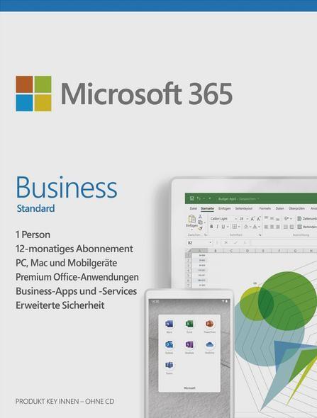 Microsoft Office 365 Business Standard, 1 Nutzer, 1 Jahr, 5 Desktop, 5 Tablet, 5 Smartph. Download