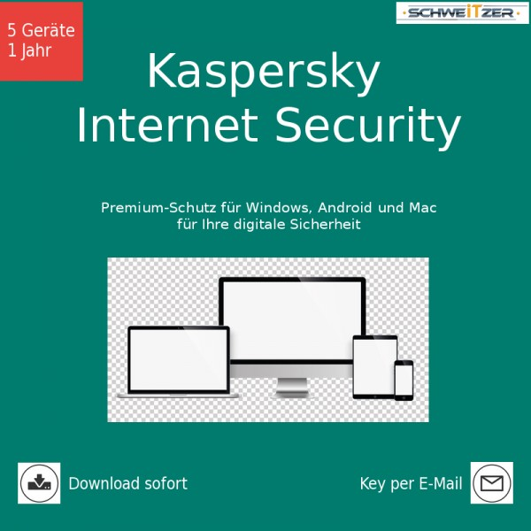 Kaspersky Internet Security, Multi Device, 5 Geräte 1 Jahr, Download