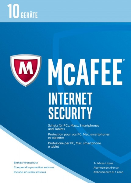 McAfee Internet Security, 10 Geräte, 1 Jahr, 2017, Download