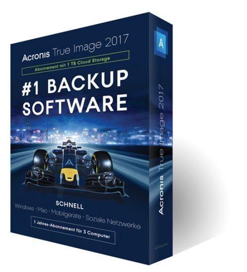 Acronis True Image 2017, 3 Geräte, 1 Jahr inkl. 1TB Cloud, BOX
