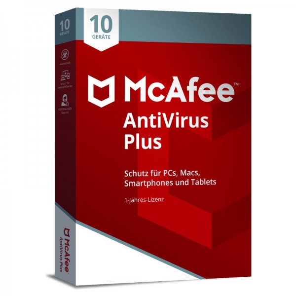 McAfee AntiVirus (2018) 10-Geräte 1 Jahr (Code Only) BOX