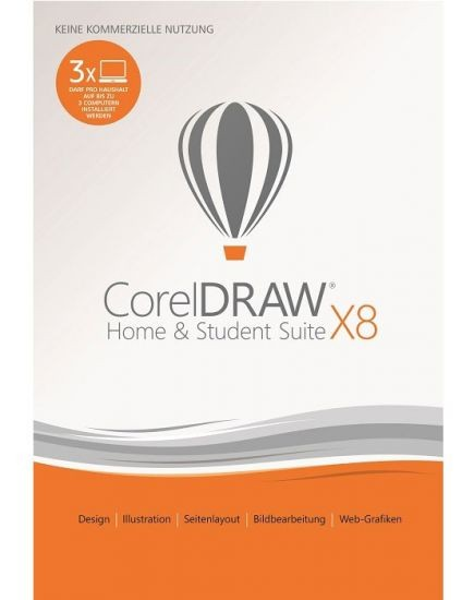 Corel DRAW Home & Student Suite X8 3-PC, ESD, Lizenz, Download