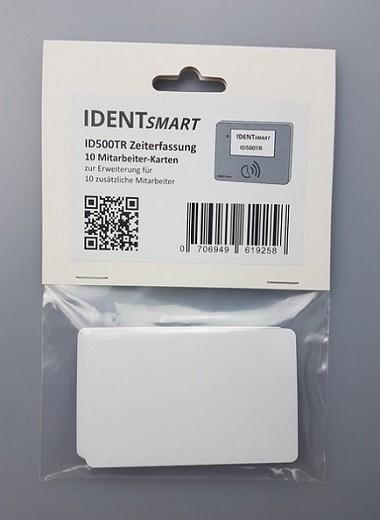 IDENTSmart Zeiterfassung 10 Mitarbeiterkarten inkl. Lizenz (RFID-Karte) weiß