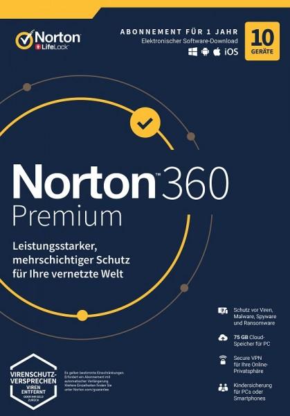 NORTON 360 PREMIUM 2020 10 Geräte / 1 Jahr inkl. 75GB, KEIN ABO, Download