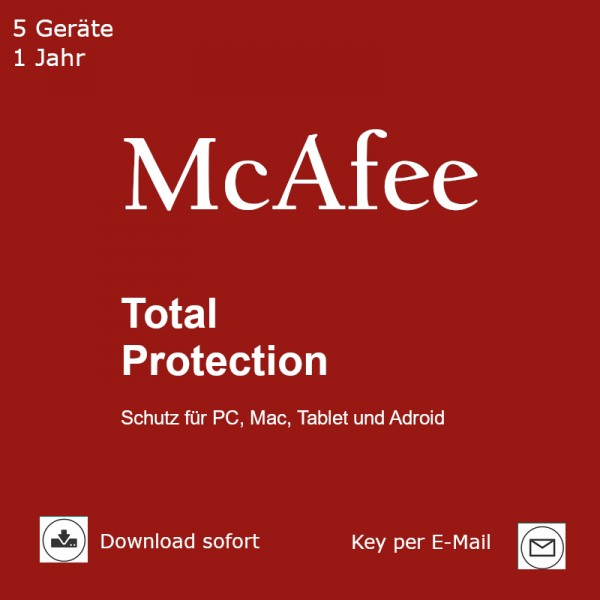 McAfee Total Protection 2020, 5 Geräte 1 Jahr Download
