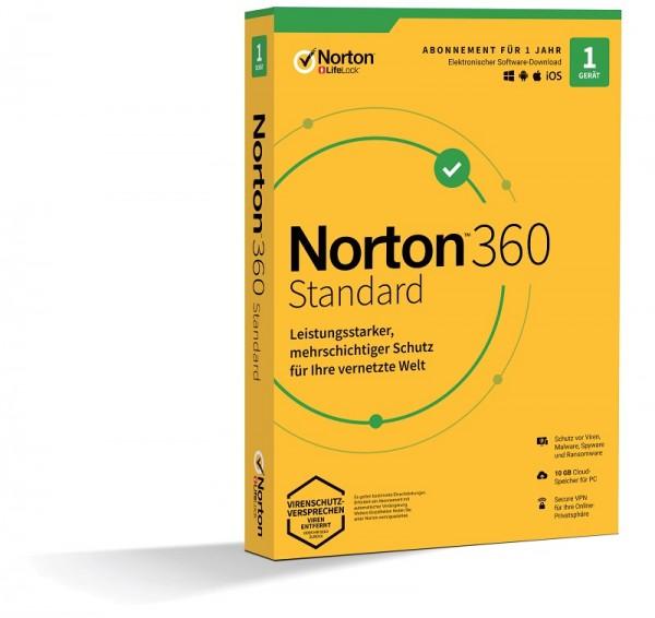 NORTON 360 STANDARD, 2021 1 Gerät / 1 Jahr inkl. 10GB, KEIN ABO, BOX