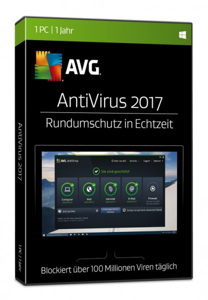 AVG AntiVirus 2017, 1 User, 1 Jahr, BOX