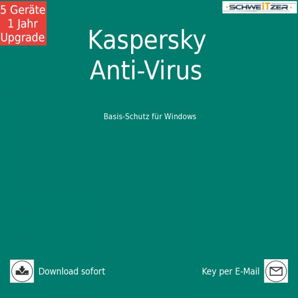 Kaspersky Anti-Virus 2019 *5-Geräte / 1-Jahr* Upgrade, Download