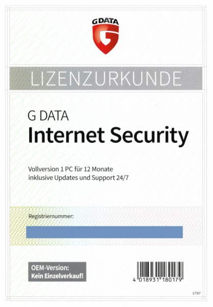 G DATA Internet Security, 1 PC, 1 Jahr, PKC (Karte mit KEY) OEM