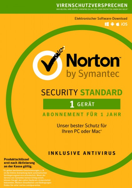 NORTON SECURITY Standard 3.0, 1 Gerät, für PC, Mac, Android, Download